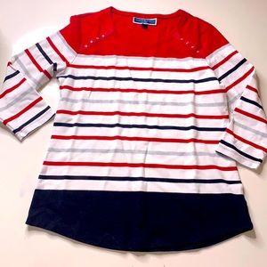Karen Scott Sport Nautical stripe 3/4 sleeve shirt